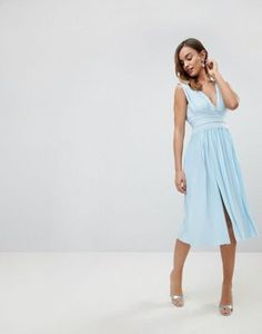 Frill Cold Shoulder Cami Maxi Dress With Ruffle Hem Detail - Ice blue True Decadence duPDRPzb
