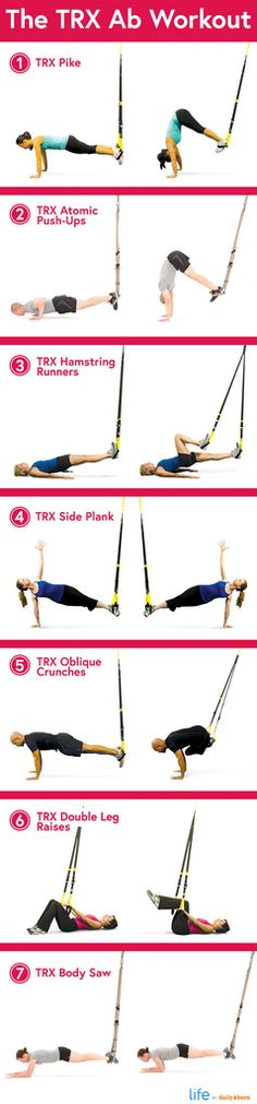 The TRX Ab Workout More Abs Exercise, Fitness Training, Resistance Band, Ab Exercises, Trx Workout, Fitness Workout Health, Ab Workouts, Trx Abs, Trx Band Ab Exercises with resistance bands 7 TRX Ab Exercises - I absolutely LOVE the TRX.
