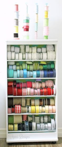 Turn an old VHS stand into a Ribbon storage rack. Its holding 150 spools!