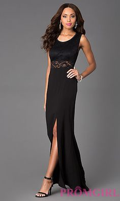 Open Back Black Lace Gown at PromGirl.com