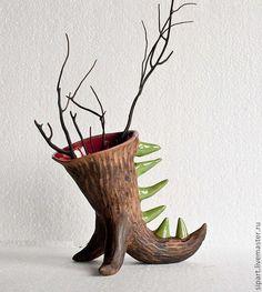 Вазы ручной работы. Ярмарка Мастеров - ручная работа. Купить Керамическая ваза-дракончик. Handmade. Керамика, керамический горшок