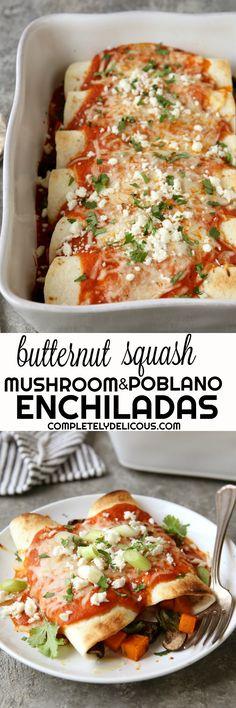 Butternut Squash, Mushroom and Poblano Enchiladas
