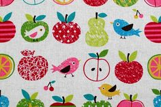 apple and little bird - japanese fabric