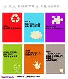 Normes de classe.Adaptació del poster de teachfactory a un entron d'aprenentatge cooperatiu. Cooperative Learning, First Grade, Education, School, Murals, Creativity, Coops, School Supplies, Activities