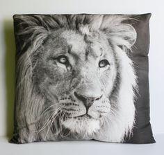 LEO LION Cushion, animal cushion, cushions, animal pillow decorative pillow cushion cover, pillow, 16 x 16 cushion,  41cms organic cotton