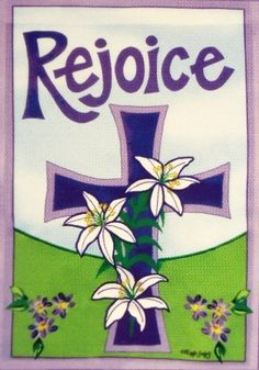 """Beautiful """"Rejoice"""" Easter Garden Flag with Cross and Lilies- Appliquéd 12.5"""" X 18"""" -For Spring Porch Patio Yard House Church by Rain or Shine. $10.89. 12.5 x 18 Small Indoor/Outdoor.. * Pretty Colors - Fade Resistant - Colorfast - Durable Construction. Appliquéd Embroidered accents around the cross add a special touch to the artwork.. Beautiful """"Rejoice"""" Easter Flag with Cross and Lilies.. Lovely decoration to welcome guests!. Welcome guests this Easter with an Art Flag by Ra..."""