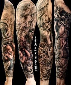 dark rose tattoo sleeve no68 tattoo by Justyna Kurzelowska