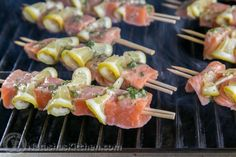 Easy grilled salmon skewers with garlic and dijon. This salmon kebabs recipe is a keeper! Kebab Recipes, Pork Recipes, Fish Recipes, Seafood Recipes, Healthy Recipes, Weekly Recipes, Delicious Recipes, Salmon Fish Recipe, Salmon And Shrimp