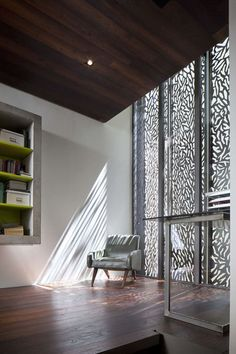 Love the laser cut privacy screen by Moussafir Architectes