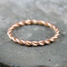 Rose Gold Band  Twist Band  14K Rose Gold Ring  by ASecondTime $250.00