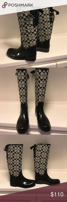 Coach tristee rain boot with ribbons Super cute writing style rain boot. In very good used condition a few marks here and there but nothing super noticeable. Soft fuzzy lining. Coach Shoes Winter & Rain Boots