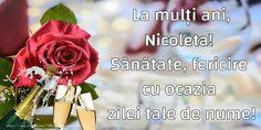 Poezie de ziua numelui: De ziua ce-ti surade-n prag / Si-i porti frumosul nume, / Eu iti doresc tot ce-i mai drag / Si mai frumos pe lume. La multi ani, Nicoleta! - Felicitari de Ziua Numelui pentru Nicoleta - mesajeurarifelicitari.com Celtic Symbols, Floral, Flowers, Plants, 8 Martie, Facebook, Plant, Royal Icing Flowers, Flower