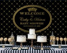 Crown Prince Black and Gold Backdrop | Poster | Signage | Personalised | Printable ONLY | Birthday Backdrop