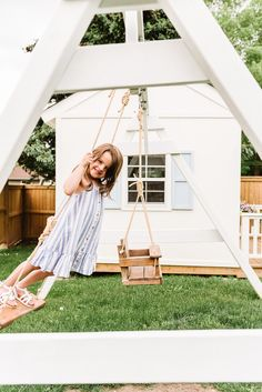 Follow our simple step-by-step plans to build the perfect wooden swing set for your backyard in less than a weekend. #swingsetplans #woodenswingset Wooden Swing Set Plans, Wooden Swings, Build A Playhouse, Playhouse Outdoor, Baby Swing Seat, How To Waterproof Wood, Outdoor Play Spaces, Woodworking Projects Diy, Backyard Landscaping