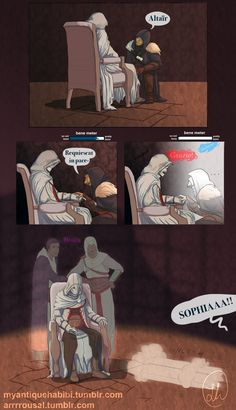 Things go from bene to not so bene for Ezio quick, Assassin's Creed Assassins Creed Comic, The Assassin, Asesins Creed, Ezio, Connor Kenway, Dragon Age, Rogues, Game Art, Video Games