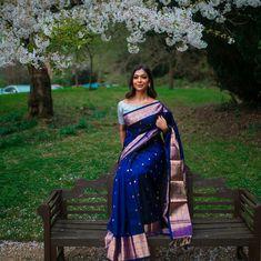 Kanjivaram Saree For Brides - Top 10 Of This Season South Indian Bride Saree, Indian Bridal Sarees, Indian Dresses, Indian Outfits, Indian Attire, Indian Wear, Kanjivaram Sarees Silk, Blue Silk Saree, Engagement Saree