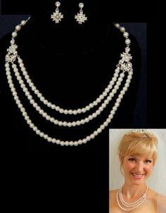 Silver Triple Row Pearl Rhinestone Bridal Necklace Earring Jewelry Set