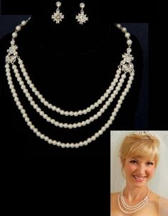 Silver Triple Row Pearl Rhinestone Bridal Necklace Earring Jewelry Set