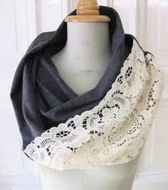 Scarf made from an old tee and lace. (super cute!)