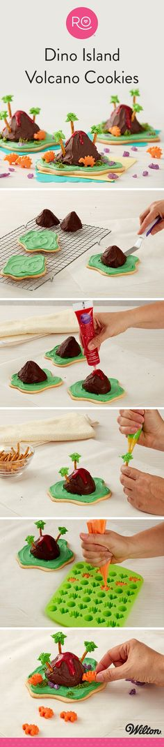 How to Make Dino Island Volcano Cookies - Topped with brownie volcanos and mini candy dinosaurs, these Dino Island Volcano Cookies are erupting with color and flavor! Made using the new Rosanna Pansino Nerdy Nummies Baking Collection, these cookie treats use a few of Ro's favorite new items, including the Poop Swirl Treat Mold, her awesome decorating tip set and the Nerdy Nummies Silicone Candy Mold (for those super cute dinosaurs!).