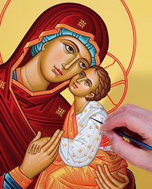 Monastery Icons sells over 200 matching icons of your most beloved themes of Christian sacred art, with bright, rich colors and English text. Browse the entire collection of saint icons, icons of Christ, angel icons and more. Monastery Icons, Paint Icon, Leaf Background, Icon Collection, Blessed Mother, Sacred Art, Virgin Mary, Madonna, Religion