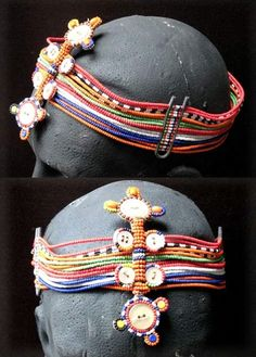 Africa | Maasai head band. This 1950s or 60s headband is made up of 16 strands of beadwork, with an ornate centrepiece of buttons and beads above and below the band.