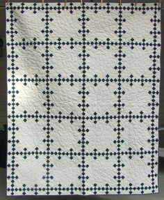 Quilt nine patch blue and white traditional by lsa1sew on Etsy