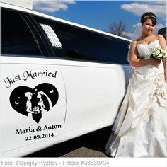 Autoaufkleber Hochzeit - Paar im Herz