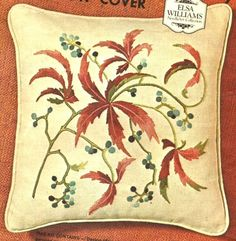 "VINTAGE ELSA WILLIAMS LEAVES AND BERRIES ""WOODBINE"" PILLOW CREWEL EMBROIDERY KIT #ElsaWilliams"