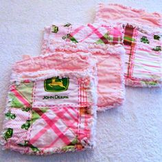 #Pink #John Deere #Burp Cloths