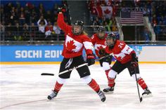 DAY Meghan Agosta-Marciano Natalie Spooner and Caroline Ouellette of Canada during the Women's Ice Hockey Preliminary Round Group A - Canada vs. Hayley Wickenheiser, Poses For Photos, Winter Olympics, Ice Hockey, Russia, Sporty, Celebrities, Lady, Period