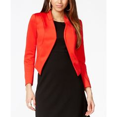 Thalia Sodi Solid Scuba Blazer, ($70) ❤ liked on Polyvore featuring outerwear, jackets, blazers, fierce red, red blazer jacket, blazer jacket, red blazer and red jacket
