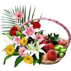 Flowers & Fruit Basket Fruit Flowers, Buy Flowers, Flower Basket, Flower Arrangements, Wreaths, Plants, Gifts, Hampers, Floral Arrangements