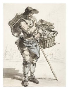 """An Oyster-Seller,"" from Cries of London   Paul Sandby, 1759, The London Museum"