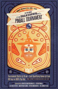 Shakedown Pinball Tournament - LARIAT creative  pinball wizard, flipper, illustration, line craft, orange and purple, banner, play field, silver ball, spell book, stars, geometric
