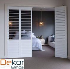 Plantation Shutters are the hottest product in window coverings today! Available in sliding, bi-folding / hinged. The options are endless.for ensuite Interior Sliding French Doors, Interior Barn Doors, Exterior Doors, Entry Doors, Sliding Doors, Bi Fold Doors, French Interior, Front Doors, Room Divider Doors