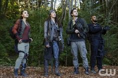 "The 100 -- ""A Lie Guarded"" -- Image HU404b_0247 -- Pictured (L-R): Lindsey Morgan as Raven, Luisa D'Oliveira as Emori, Richard Harmon as Murphy, and Jarod Joseph as Miller -- Credit: Bettina Strauss/The CW -- © 2017 The CW Network, LLC. All Rights Reservedpn"