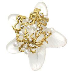 SEAMAN SCHEPPS Crystal, Pearl & Diamond Starfish Brooch. Circa 1995s