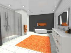 A splash of color in a contemporary bathroom 🧡 Contemporary Style Bathrooms, Bathroom Styling, Clutter, Color Splash, Create Yourself, Minimalism, Inspiration, Biblical Inspiration, Paint Splats