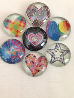 Heart glass magnets, star glass magnets, glitter glass magnet set colorful glass magnets on Etsy, $12.00