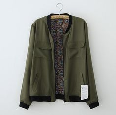 Spring Bomber Jacket Women Green Military Jacket 2015 New Design Fashion Solid…