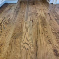 Newly installed 5 inch red oak sand on site. Finished with a weathered oak stain blend. Red Oak Stain, Red Oak Floors, Engineered Hardwood Flooring, Hardwood Floors, Oak Floor Stains, Wood Floor Stain Colors, Natural Flooring, Weathered Oak, Restain Wood