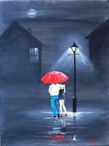 Original Oil Acrylic Canvas Girl Couple Moonlight Romantic Painting Jim Gillon | eBay