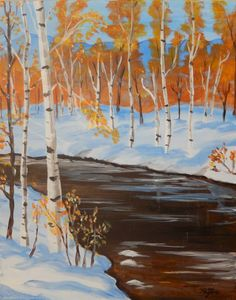 """""""Birches by a Stream"""" - Painting with Payton"""