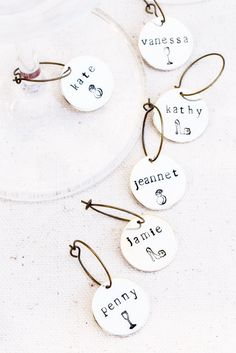 Custom Bridal Shower Wine Glass Charms also double as a seating name card! A perfect wine tasting bridal shower favor, or bachelorette party favor idea. No separate place cards required! http://www.karasvineyardweddingshop.com/collections/et-cetera/products/wine-glass-charms