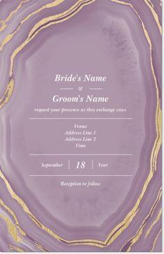 Why You'll Love Purple Geode Vertical Flat Wedding Invitations