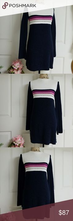 NWT Free People Dress Very comfortable navy blue knitted. White collar. pink and purple lines. Free People Dresses Midi