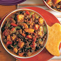 This easy black bean and butternut squash chili will fill your kitchen with wonderful aromas while it simmers in the slow-cooker all day. Serve with cornbread and your favorite toppings.