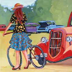 Daily Painting, What a Beauty, contemporary car show scene, painting by artist Carolee Clark