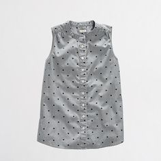 Factory sleeveless dotted chambray top